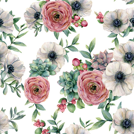 Watercolor seamless pattern with succulent, ranunculus, anemone. Hand painted flowers, eucaliptus leaves and succulent branch isolated on white background. Ilustration for design, print or background.