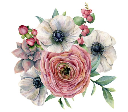 Watercolor succulent, ranunculus and anemone bouquet. Hand painted flowers, eucaliptus leaves, berries and succulent branch isolated on white background. Ilustration for design, print or background.