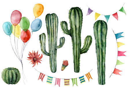 Foto de Watercolor cacti and flags garlands set. Hand drawn vintage colorful air balloons for holiday or birthday. Party illustrations isolated on white background for design, print, fabric or background. - Imagen libre de derechos