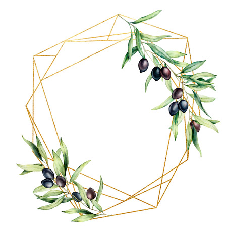 Photo for Watercolor polygonal golden frame with olive tree branch, black olives and leaves. Hand drawn floral label isolated on white background. Botanical illustration. Greeting template for design. - Royalty Free Image