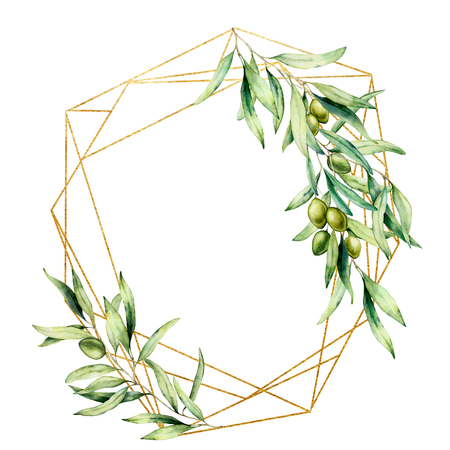 Photo pour Watercolor polygonal golden frame with olive tree branch, green olives and leaves. Hand drawn floral label isolated on white background. Botanical illustration. Greeting template for design. - image libre de droit