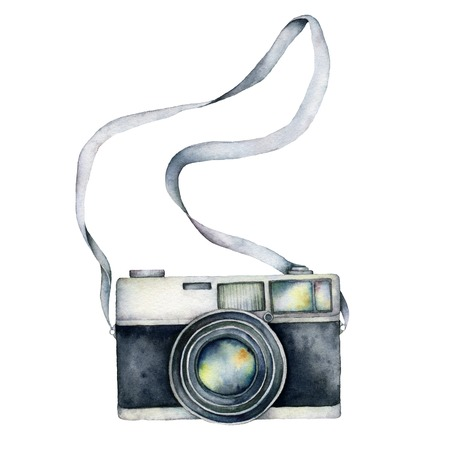 Foto de Watercolor camera card. Hand painted photographic equipment illustration isolated on white background. For design, prints or background. - Imagen libre de derechos