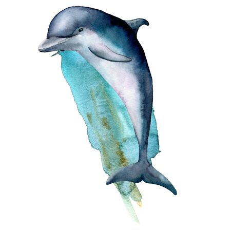 Watercolor dolphin and blue water composition. Hand painted underwater illustration isolated on white background. Aquatic illustration for design, print or background.