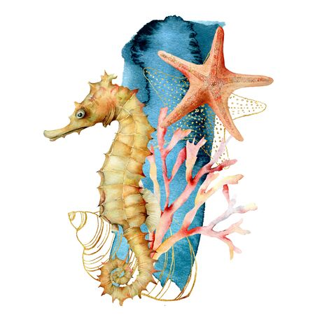 Photo for Watercolor seahorse, shell and starfish composition. Hand painted underwater illustration with coral reef isolated on white background. Aquatic illustration for design, print or background. - Royalty Free Image