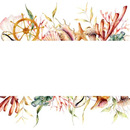 Watercolor border with coral reef plants and ships wheel. Hand painted seaweeds, shells and starfish isolated on white background. Nautical template. Illustration for design, print or background.