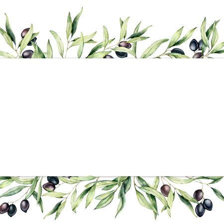 Foto de Watercolor border with black olive berries and branch. Hand painted botanical banner with olives isolated on white background. Floral illustration for design, print, fabric or background. - Imagen libre de derechos
