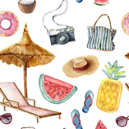 Photo pour Watercolor vacation seamless pattern. Hand painted summer beach objects: sunglasses, beach umbrella, watermelonl, beach chair and straw hat. Illustration isolated on blue background. - image libre de droit