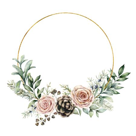 Photo pour Watercolor winter wreath with roses and eucalyptus branch. Hand painted pine cones and leaves composition isolated on white background. Holiday floral illustration for design, print or background. - image libre de droit