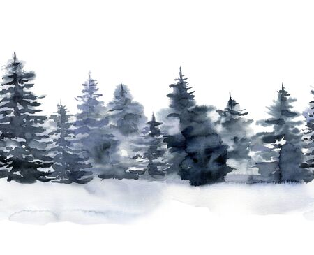 Photo pour Watercolor seamless border with winter forest. Hand painted foggy fir trees illustration isolated on white background. Holiday clip art for design, print, fabric or background. Christmas card. - image libre de droit