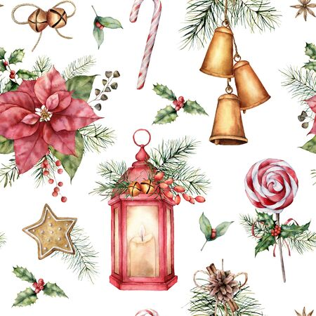 Foto de Watercolor Christmas seamless pattern with holiday symbols. Hand painted lantern, poinsettia, bells, lollipop isolated on white background. Winter botanical illustration for design, print, background. - Imagen libre de derechos