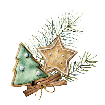 Foto de Watercolor Christmas card with spice and cookie. Hand painted composition with cinnamon and pine branches isolated on white background. Holiday food illustration for design, print, fabric, background. - Imagen libre de derechos