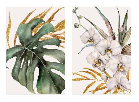 Photo pour Watercolor tropical cards with orchids, golden palm leaves and monstera. Hand drawn bouquets isolated on white background. Floral illustration for design, print or background. Greeting template - image libre de droit