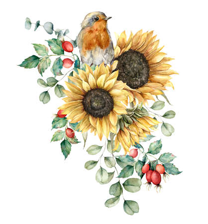 Foto de Watercolor autumn bouquet with robin redbreast, sunflowers, leaves and dogroses. Hand painted rustic card isolated on white background. Floral illustration for design, print, fabric or background. - Imagen libre de derechos