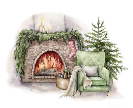 Photo for Watercolor winter card with fireplace, armchair and christmas tree. Hand painted holiday illustration with interior objects isolated on white background for design, print, fabric or background. - Royalty Free Image