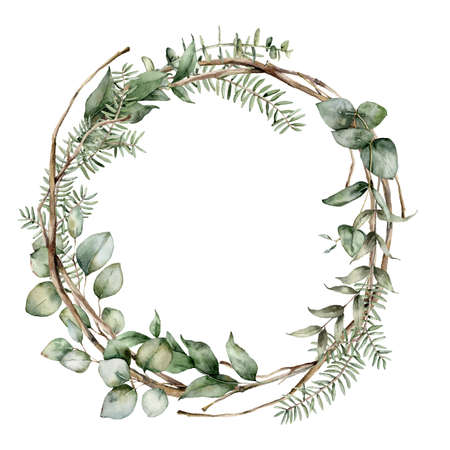 Photo for Watercolor Christmas wreath with fir, eucalyptus and dry branches. Hand painted holiday frame with plants isolated on white background. Floral illustration for design, print, fabric or background. - Royalty Free Image