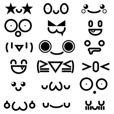 Illustration for cute kawaii emoticon face collection isolated on white background. - Royalty Free Image