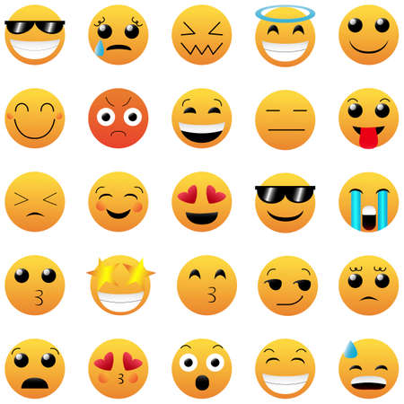 Illustration for Set of Cute Emoticons on White Background. Isolated Vector Illustration. - Royalty Free Image