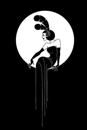 Art Deco style poster design, woman silhouette, elegant fashion style
