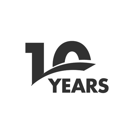 Illustration for Isolated abstract 10 years anniversary vector logo. Happy 10th birthday greeting card. Black color writing on the white background - Royalty Free Image