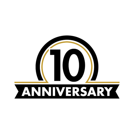 Illustration pour Anniversary vector unusual label. Tenth anniversary symbol. 10 years birthday abstract logo. The arc in a circle. 10th jubilee - image libre de droit