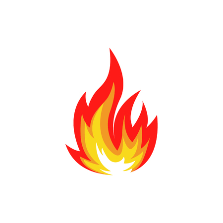 Illustration for Isolated abstract red and orange color fire flame  set on white background. Campfire . Spicy food symbol. Heat icon. Hot energy sign. Vector fire illustration. - Royalty Free Image