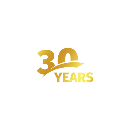 Illustration pour Isolated abstract golden 30th anniversary logo on white background. 30 number logotype. Thirty years jubilee celebration icon. Thirtieth birthday emblem. Vector illustration - image libre de droit