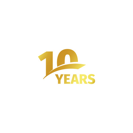 Illustration pour Isolated abstract golden 10th anniversary logo on white background. 10 number logotype. Ten years jubilee celebration icon. Tenth birthday emblem. Vector illustration - image libre de droit