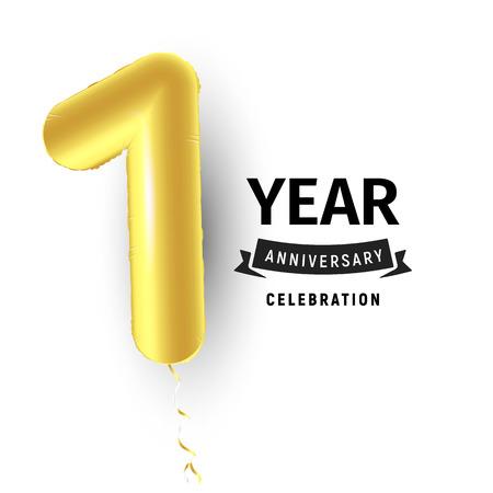 Illustration pour Inflatable golden balloon, first year celebration vector illustration. - image libre de droit