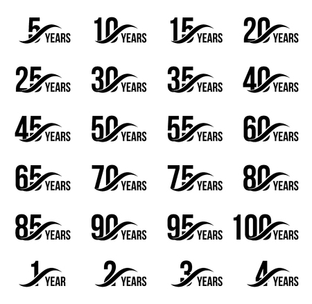 Illustration pour Isolated black color numbers with word years icons collection on white background, birthday anniversary greeting card elements set vector illustration - image libre de droit