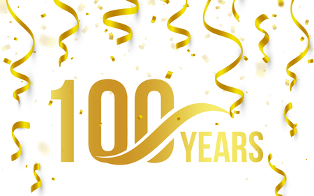Ilustración de Isolated golden color number 100 with word years icon on white background with falling gold confetti and ribbons, 100th birthday anniversary greeting logo, card element, vector illustration - Imagen libre de derechos