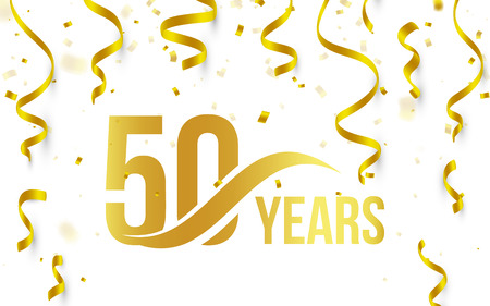 Ilustración de Isolated golden color number 50 with word years icon on white background with falling gold confetti and ribbons, 50th birthday anniversary greeting logo, card element, vector illustration - Imagen libre de derechos