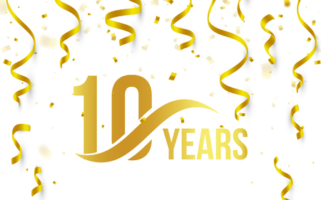 Illustration pour Isolated golden color number 10 with word years icon on white background with falling gold confetti and ribbons, 10th birthday anniversary greeting logo, card element, vector illustration - image libre de droit