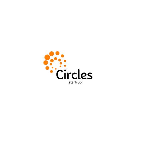 Ilustración de Abstract vector circle logotype. Orange unusual isolated chem logo. Virus icon. Orange sun. Flower - Imagen libre de derechos