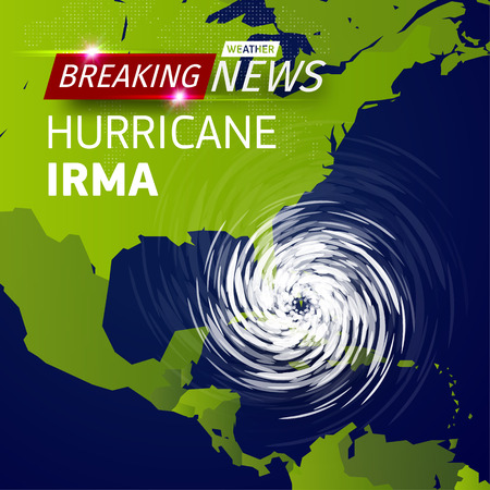Illustration for Breaking news TV, realistic Hurricane cyclone vector illustration on USA map, typhoon spiral storm logo on green world map, spin vortex illustration on black background with shadow - Royalty Free Image