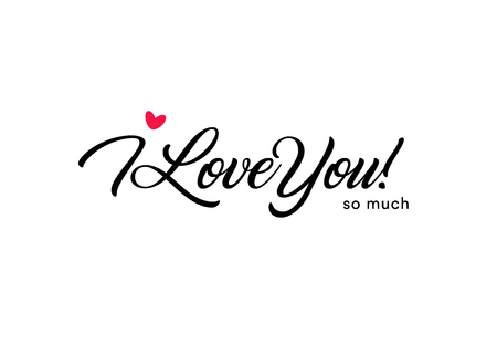 Illustration pour I love you so much beautiful lettering, text with small red heart. Valentine card for the holy valentine's day, love symbol - image libre de droit
