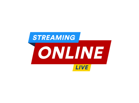 Illustration for Online Streaming logo, live video stream icon, digital online internet TV banner design, broadcast button, play media content button, vector illustration on white background - Royalty Free Image