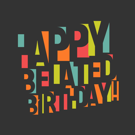 Illustration pour Greeting card for birthday. Colorful letters and confetti on black background. Happy birthday Congrats vector illustration. Negative space lettering design - image libre de droit