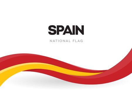 Illustration for Spanish waving flag banner. National symbol of Spain. Red and yellow ribbon poster. The 12th of October holiday postcard. Discovery of America anniversary vector illustration. Annual celebration. - Royalty Free Image