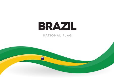 Illustration pour Brazil flag, wavy ribbon with colors of Brazilian national flag on white background for Independence Day or national holidays, isolated vector illustration - image libre de droit