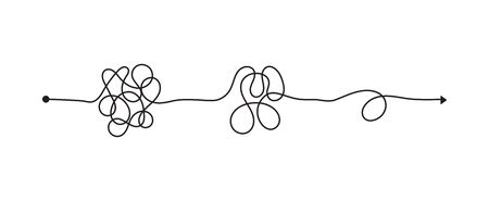 Illustration pour Tangled line, complex knot rests in straight line, isolated vector illustration. - image libre de droit