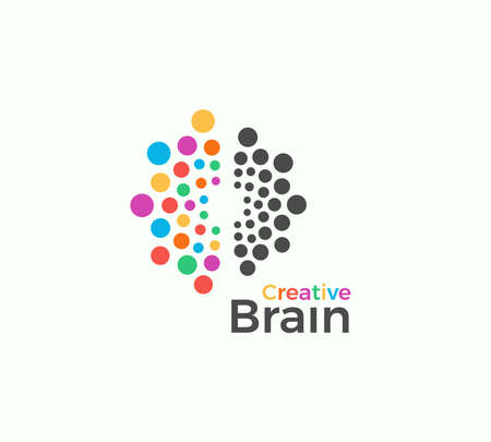 Illustration pour Creative Brain vector logo template in colored dots style. Creative imagination, inspiration abstract icon on white background. Left and right brain hemispheres vector illustration for creativity art - image libre de droit