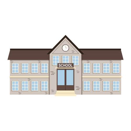 Illustration pour Cartoon brick school building . Vector illustration - image libre de droit