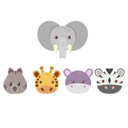 Photo pour Set of five cute flat animals - elephant, quokka, giraffe, hippo, zebra. vector illustration - image libre de droit