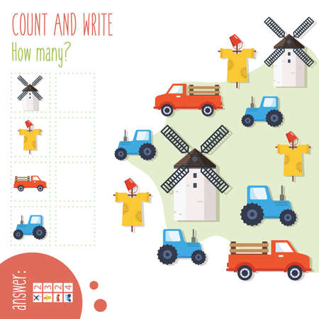 Illustration pour Count and write. How many? Easy worksheet On the farm for preschoolers,  children in elementary and middle school. Fun way to practice math. Includes answers. Vector illustration. - image libre de droit