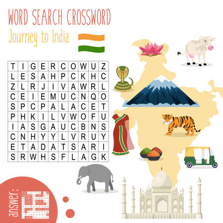 Illustration pour Easy crossword puzzle 'Journey to India', for children in elementary and middle school. Fun way to practice language comprehension and expand vocabulary. Includes answers. Vector illustration. - image libre de droit