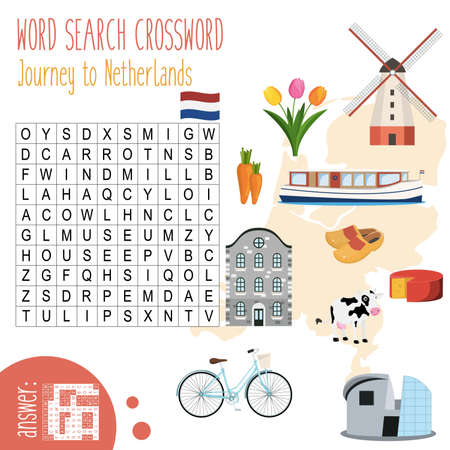Illustration pour Easy crossword puzzle 'Journey to Netherlands', for children in elementary and middle school. Fun way to practice language comprehension and expand vocabulary. Includes answers. Vector illustration. - image libre de droit