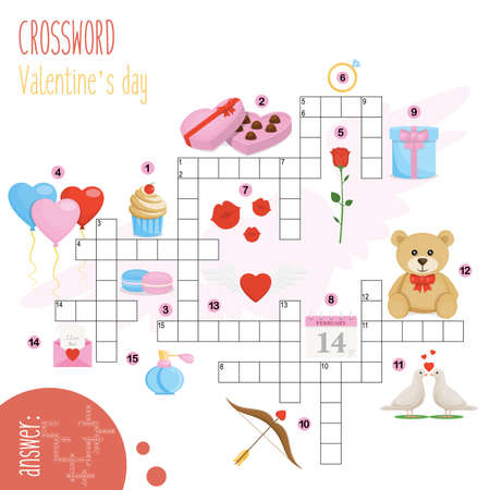 Illustration pour Easy crossword puzzle 'Valentine's day', for children in elementary and middle school. Fun way to practice language comprehension and expand vocabulary.Includes answers. Vector illustration. - image libre de droit