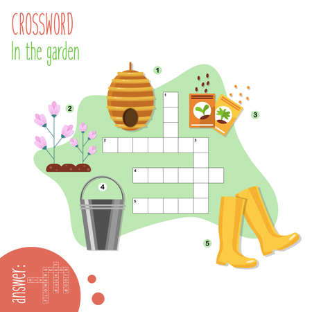 Illustration pour Easy crossword puzzle 'In the garden', for children in elementary and middle school. Fun way to practice language comprehension and expand vocabulary.Includes answers. Vector illustration. - image libre de droit