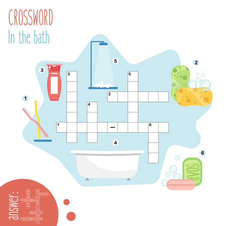 Illustration pour Easy crossword puzzle 'In the bathroom', for children in elementary and middle school. Fun way to practice language comprehension and expand vocabulary.Includes answers. Vector illustration. - image libre de droit