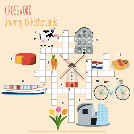 Illustration pour Easy crossword puzzle 'Journey to Netherlands', for children in elementary and middle school. Fun way to practice language comprehension and expand vocabulary.Includes answers. Vector illustration. - image libre de droit